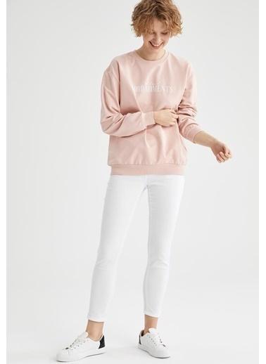 DeFacto T9489Az21Sp Kadın Renkli Yazı Baskılı Pamuklu Relfit Sweatshirt Nefti